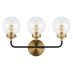 "22"" Caleb 3 Light Brass Wall Sconce Black - JONATHAN Y"