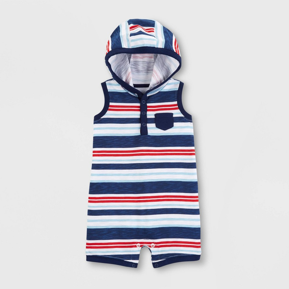 Baby Boys' Striped Hooded Romper - Just One You made by carter's Dark Blue 6M
