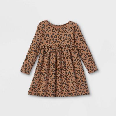 Toddler Girls' Long Sleeve Dress - Cat & Jack™ Brown/Black 12M