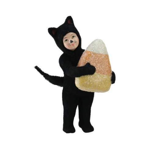 """Northlight 6.25"""" Child in Cat Costume With Giant Candy Corn Halloween Decoration - Black/Orange - image 1 of 3"""