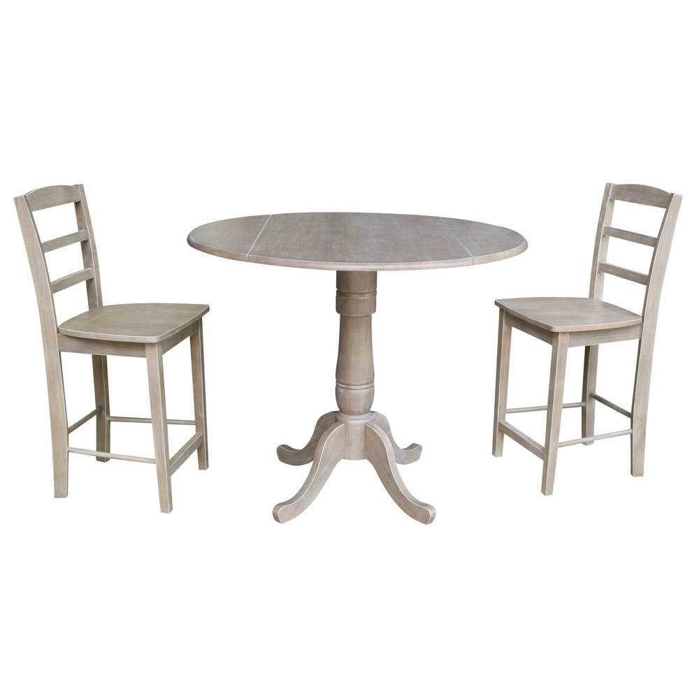 35.5 Janice Round Pedestal Gathering Height Table with 2 Counter Height Stools Washed Gray Taupe - International Concepts was $819.99 now $614.99 (25.0% off)