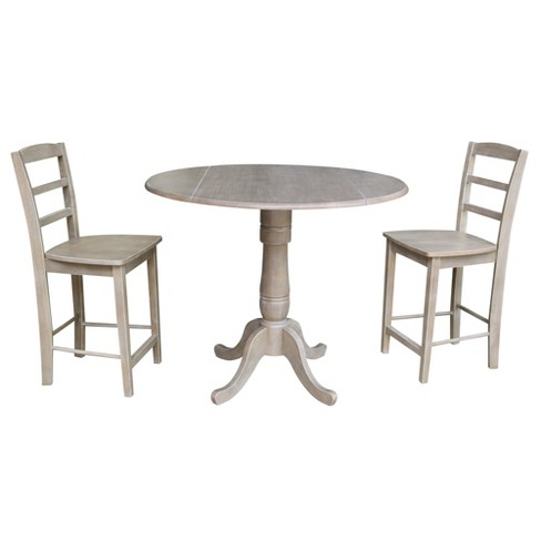 Remarkable 35 5 Janice Round Pedestal Gathering Height Table With 2 Counter Height Stools Washed Gray Taupe International Concepts Gamerscity Chair Design For Home Gamerscityorg