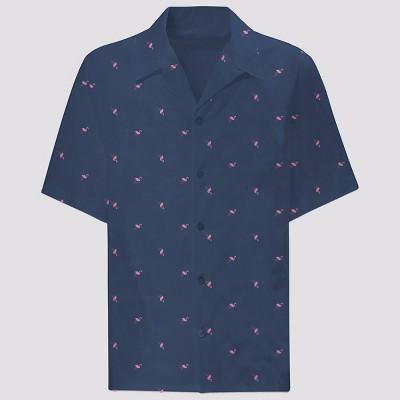 Men's 33 Revolutions Animal Print Woven Short Sleeve Button-Down Shirt - Navy