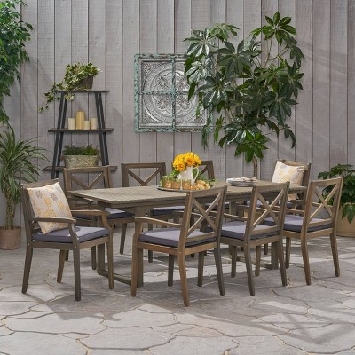 Belasera 9pc Acacia Wood Expandable Dining Set Gray - Christopher Knight Home