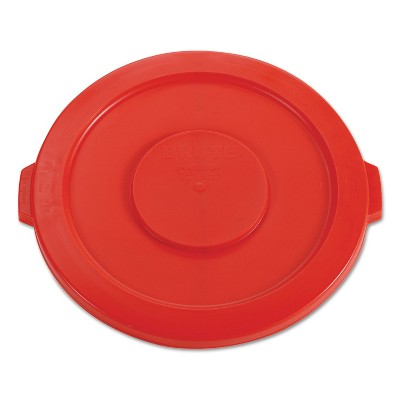 """Rubbermaid Commercial Round Flat Top Lid for 32-Gallon Round Brute Containers 22 1/4"""" dia. Red"""