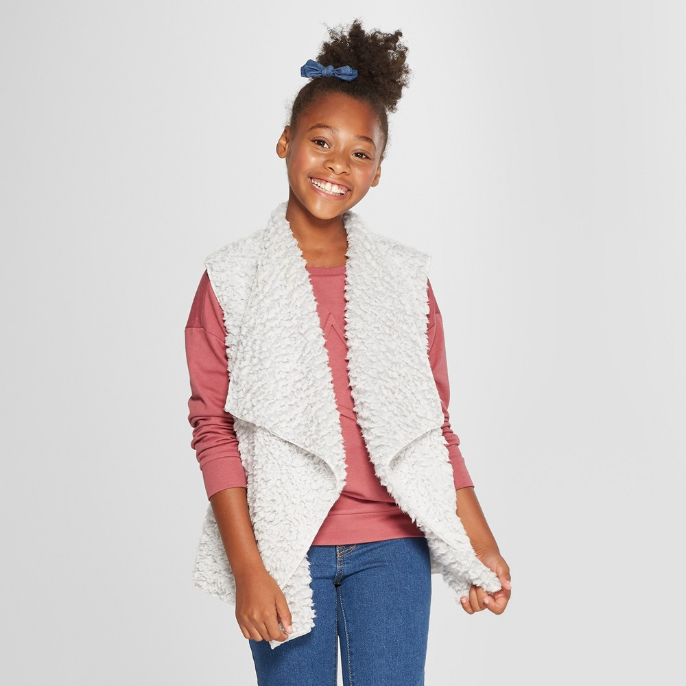 Say What Girls' Sherpa Vest - Silver L