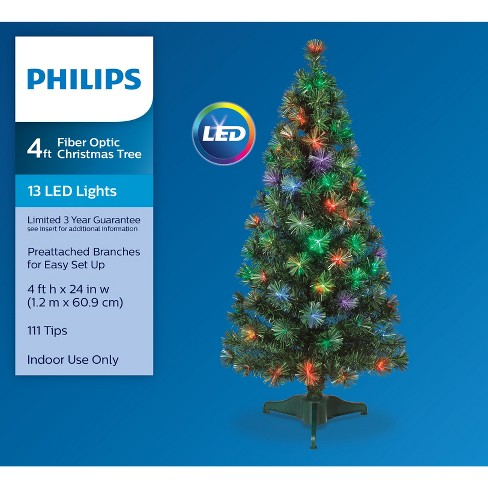 philips 4ft prelit artificial christmas tree led fiber optic slim target