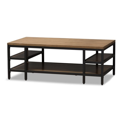 Caribou Rustic Industrial Style Oak Wood And Metal Finished Coffee