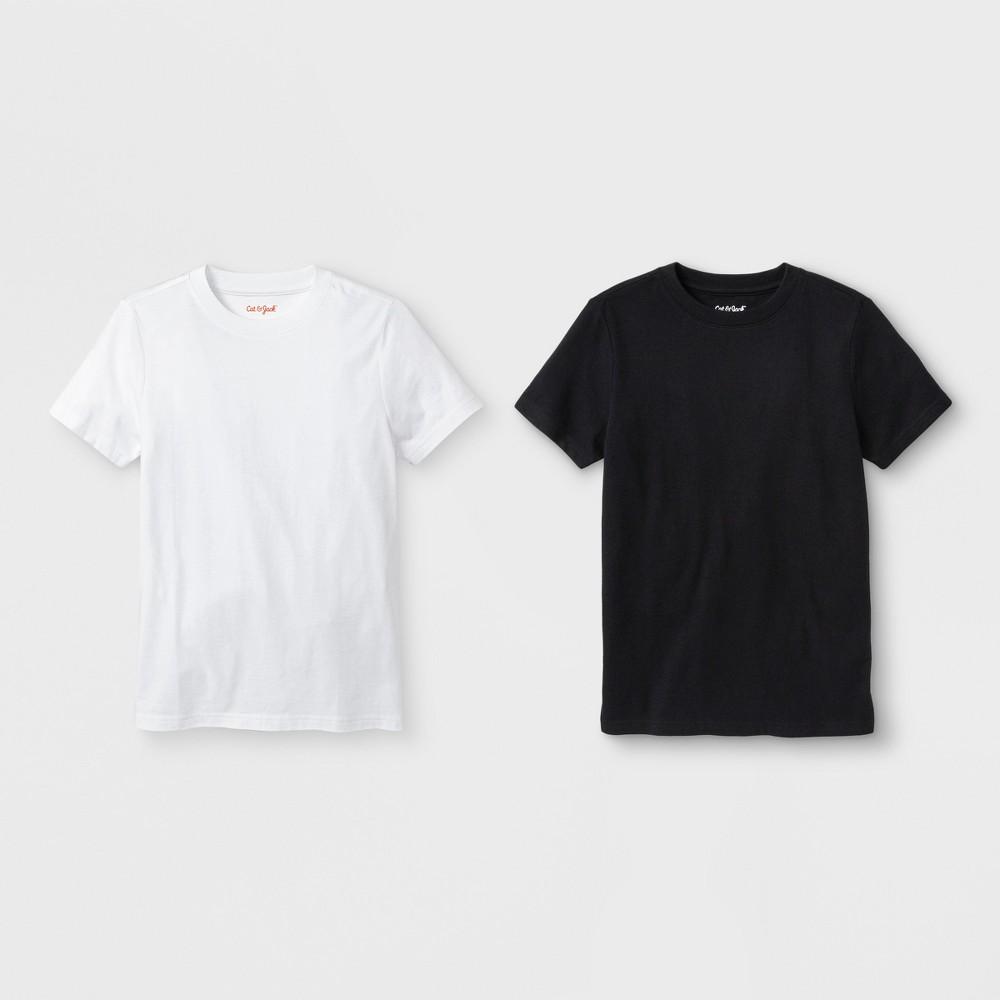 Boys' 2pk Short Sleeve T-Shirt - Cat & Jack White/Black XS