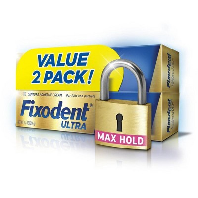 Fixodent Ultra Max Hold Dental Adhesive - Unflavored - 2.2oz/2pk