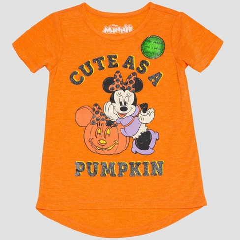 Toddler Girls' Mickey Mouse & Friends Minnie Mouse Short Sleeve T-Shirt - Orange - image 1 of 3