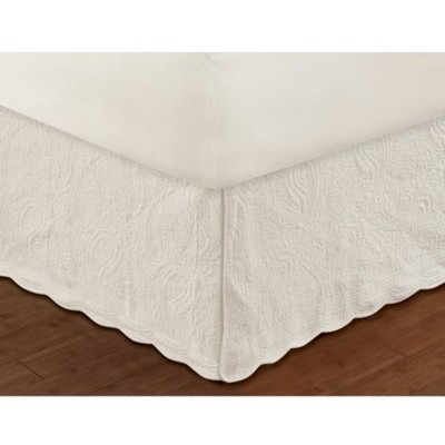 Greenland Home Fashion Paisley Quilted Ivory Bed Skirt Drop 18""