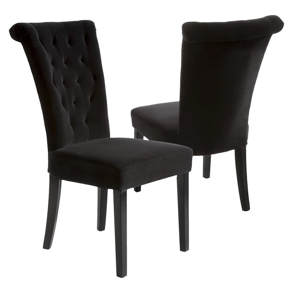 Venetian Velvet Dining Chairs - Black (Set of 2) - Christopher Knight Home