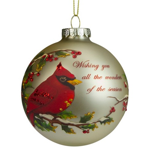 Red Cardinal on Branch Glass Christmas Ornament