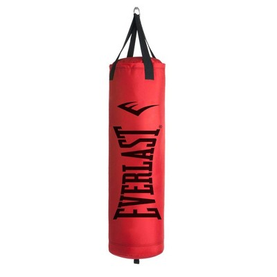 Everlast 80 LB Hanging Nevatear Polycanvas Heavy Kickboxing Punching Bag, Red