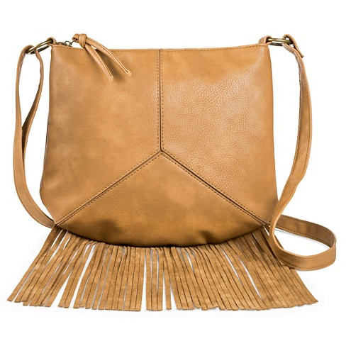 T-Shirt & Jeans Women's Faux Leather Crossbody Handbag with Zipper Closure and Fringe - Brown - image 1 of 3