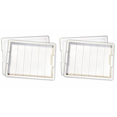 Elizabeth Ward Bead Storage Solutions Plastic Organizer Tray with Clear Snap Shut Lid for Sorting Craft Supplies, Fasteners, Crystals (2 Pack)