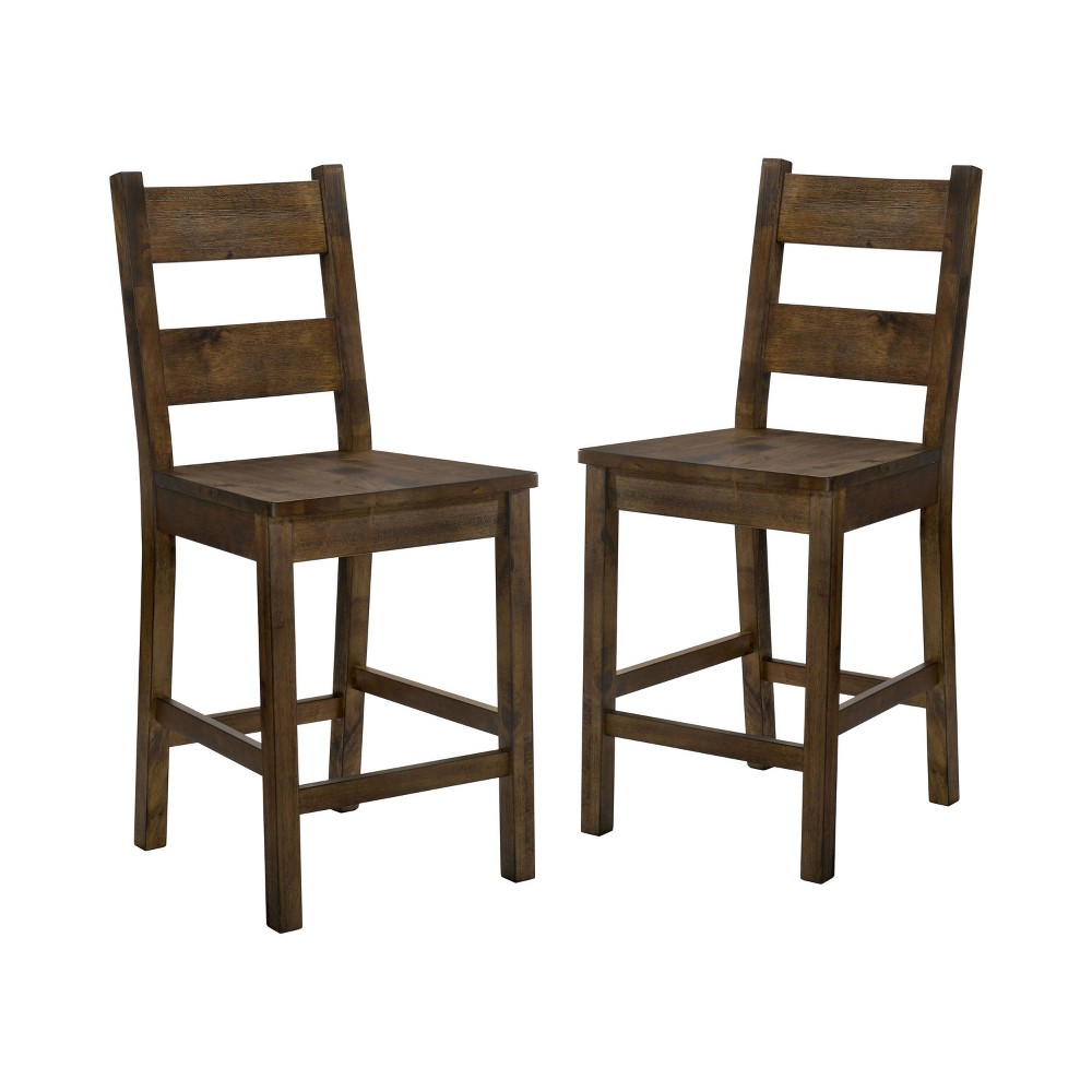 Set of 2 Sims Wood Counter Height Dining Chair Rustic Oak - Sun & Pine