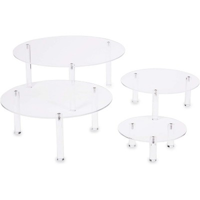 Juvale 4 Pack Round Acrylic Cake Stands, Clear Cupcake Stand Dessert Display Holders in 4 Sizes