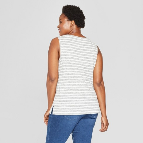 ac257babb3ce7 Women s Plus Size Striped V-Neck Tank - Ava   Viv™ Black Cream   Target