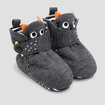 Baby Monster Bootie Slippers with Snap - Cat & Jack™ Black 3-6M