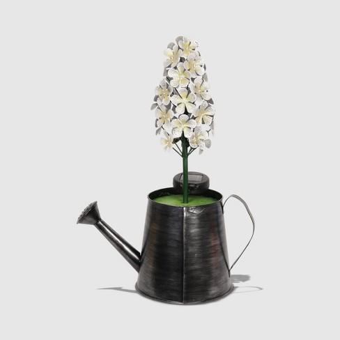 "20"" Solar Resin Antique Topiary In Black Watering Can Ivory - Exhart - image 1 of 2"