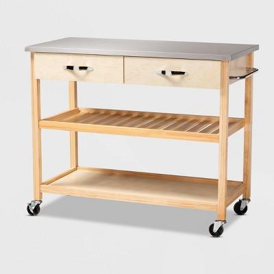 2 Drawer Cresta Pine Wood and Stainless Steel Kitchen Island Utility Storage Cart Light Oak/White - Baxton Studio