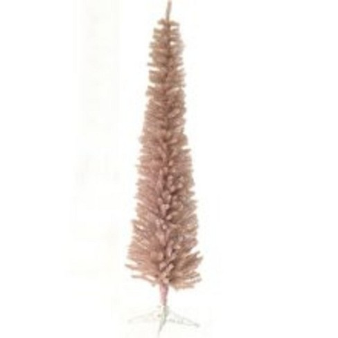 Pink Artificial Christmas Tree.Northlight 7 5 Pink Silver Pencil Tinsel Artificial Christmas Tree Unlit