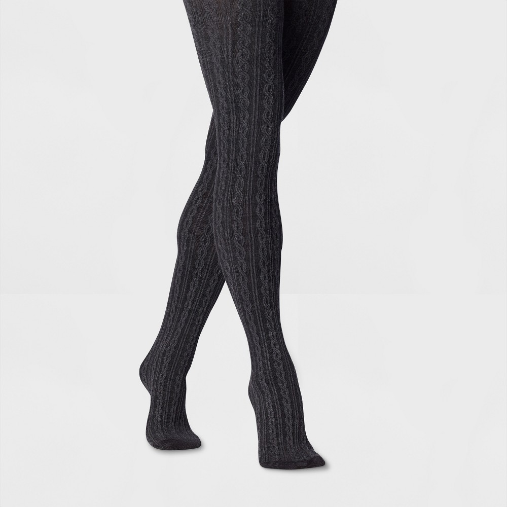 Women's Cable Sweater Tights - A New Day Gray S/M