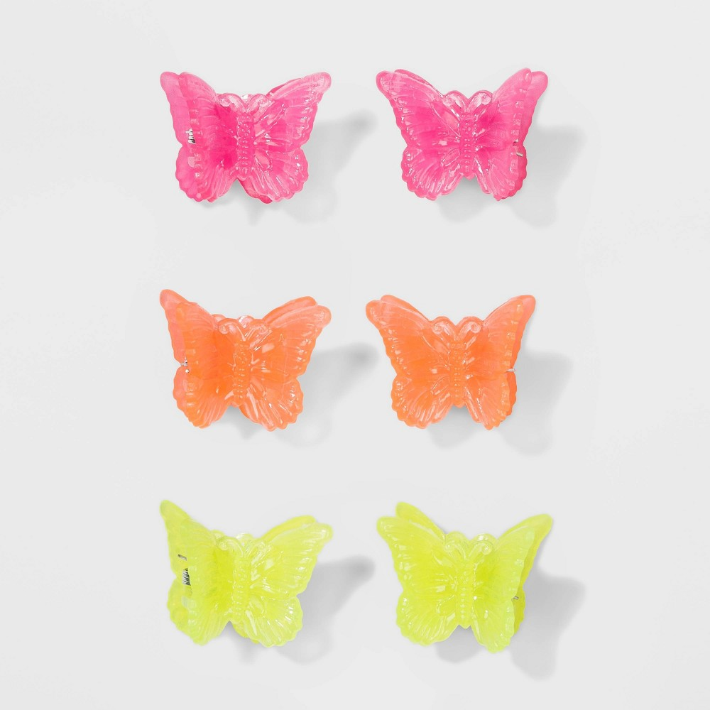 Vintage Hair Accessories: Combs, Headbands, Flowers, Scarf, Wigs Jelly Finish Plastic Butterfly Shape Hair Claw Clips - Wild Fable $6.00 AT vintagedancer.com