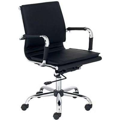 Studio 55D Tanner Black Faux Leather Lowback Desk Chair