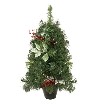 Northlight 2' Green Potted Pre-Decorated Pine Cone and Berry Medium Artificial Christmas Tree - Unlit