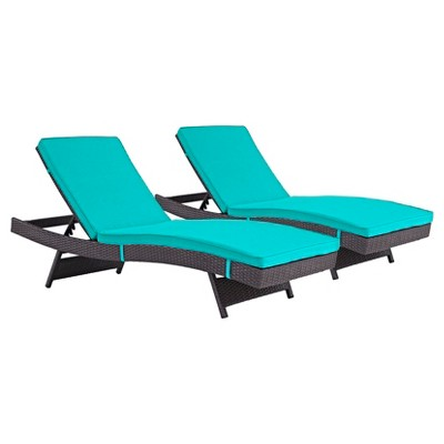 Convene Chaise Outdoor Patio Set of 2 in Espresso Turquoise - Modway