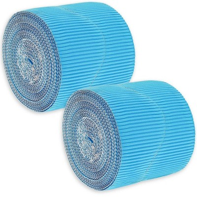 2-Rolls Blue Bulletin Board Scalloped Border Decoration for Classroom, 2 inches X 50 Feet