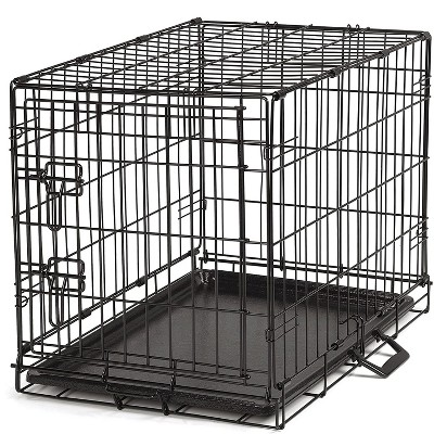 ProSelect Foldable Pop Up Highly Secure Portable Travel Friendly Easy Durable Small Wire Lightweight Dog Crate with Removable Tray, Black