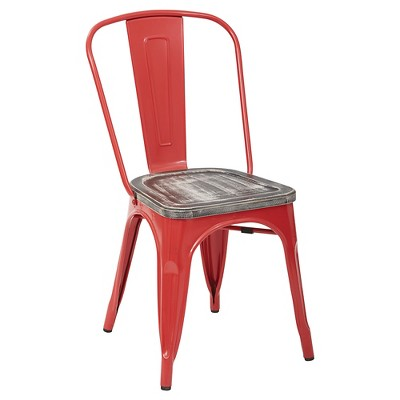 4pk Bristow Red Frame Metal Chair with Vintage Wood Seat Ash Crazy Horse - OSP Home Furnishings