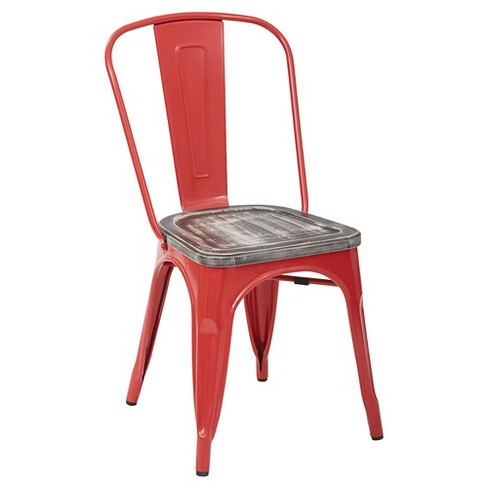 Bristow Red Frame Metal Chair with Vintage Wood Seat - Ash Crazy Horse (4 Pack) - OSP Designs - image 1 of 4