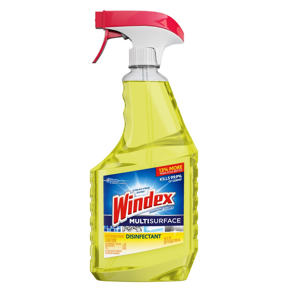 Windex Original Yellow MultiSurface Cleaner - 26oz Long Description Streak-Free Shine! Windex Disinfectant Cleaner Multi-Surface cleans, shines, and kills 99.9 percent of germs‡, viruses^, and bacteria† on hard, non-porous surfaces. Works on: Countertops like Corian, sealed granite, sealed marble (real or synthetic), Formica; exterior surfaces of appliances like microwaves, stovetops, and kitchen sinks; stainless steel, glazed ceramic tile, windows, plastic, vinyl, glass, and more! When used as directed, kills: ‡Staphylococcus aureus (Staph), Salmonella enterica (Salmonella), Pseudomonas aeruginosa (Pseudomonas), Streptococcus pyogenes (Strep), Rhinovirus Type 37 (common cold), Influenza A2/Hong Kong (H1N1) (flu) (virus) ^Rhinovirus Type 37 (common cold), Influenza A2/Hong Kong (H1N1), Influenza B †Staphylococcus aureus (Staph), Enterobacter aerogenes (Enterobacter), Escherichia coli (E. coli), Salmonella enterica (Salmonella), Campylobacter jejuni, and Listeria monocytogenes (Listeria), Streptococcus pyogenes (Strep). Directions FOR Use: X It is a violation of Federal Law to use this product in a manner inconsistent with its labeling. TO Clean: Spray surface and wipe with a dry paper towel or lint-free cloth. Note: Do not use on glasses, utensils or dishes. All food contact surface such as appliances and kitchen countertops must be rinsed with water. TO Sanitize Hard Non-Porous Surface: Pre-clean heavily soiled areas. Spray surface until thoroughly wet. Let stand for 10 seconds. Wipe. TO Disinfect ON Hard Non-Porous Surface: Pre-clean heavily soiled areas. Spray surface until thoroughly wet. Let stand for 10 minutes. Wipe. Uses: Cleans the following surfaces: Bathroom surfaces, Corian and Formica countertops*, sealed granite countertops, sealed marble countertops (real or synthetic), exterior surfaces of appliances like microwaves, stovetops, toasters, etc. Kitchen fixtures, stainless steel, glazed ceramic tile, glass, windows, plastic, vinyl and more. *Corian is a
