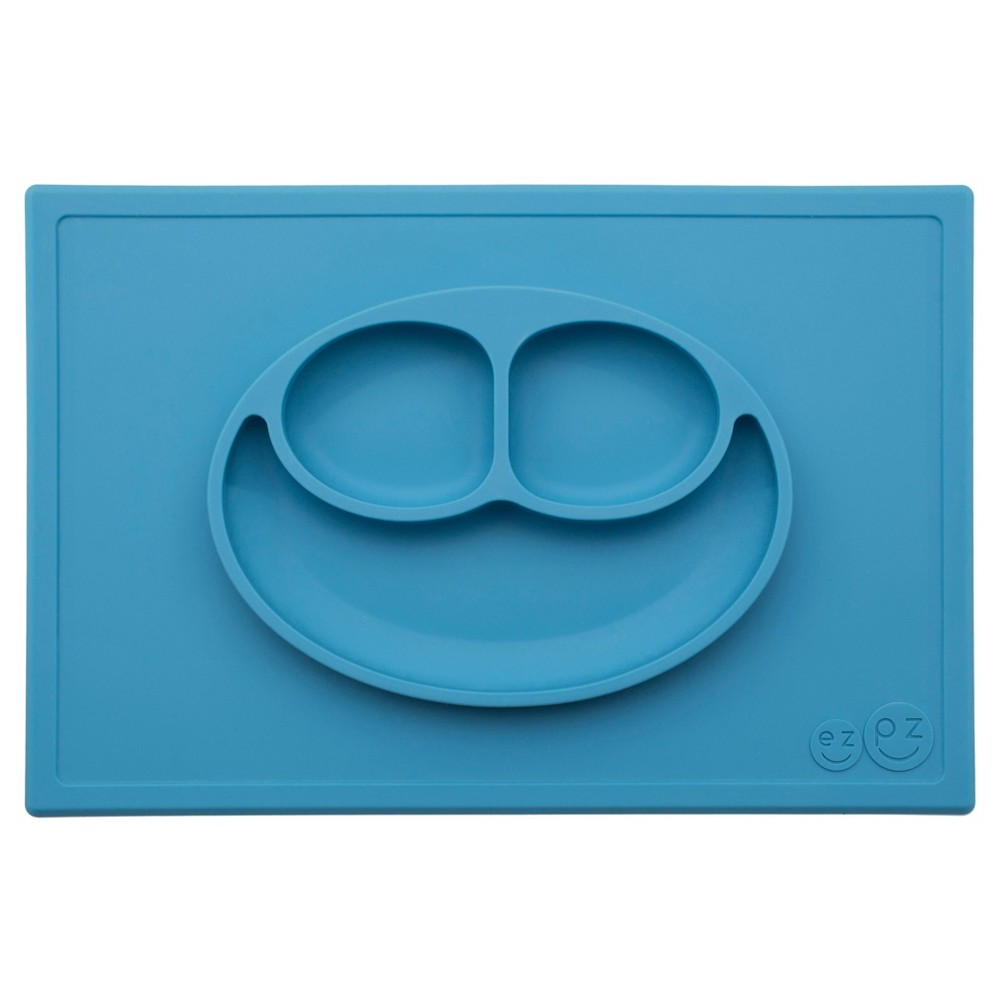 Image of ezpz Happy Mat Dining Plate - Blue