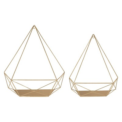 2pc Prouvé Diamond Shaped Shelf Set Gold - Kate & Laurel All Things Decor