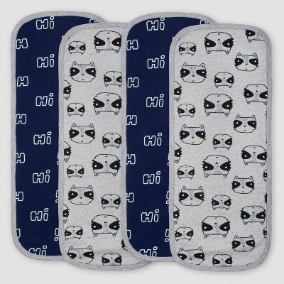 Gerber Baby Boys' 4pk Raccoon Burpcloths - Blue/Gray