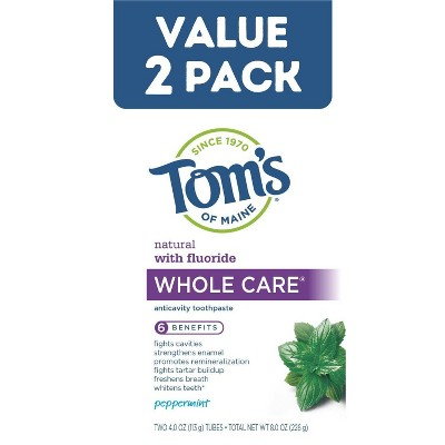 Tom's of Maine Whole Care Peppermint Toothpaste - 2pk/4oz
