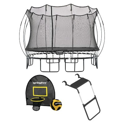 Springfree Outdoor 13 x 13 Foot Square Jumping Trampoline with Net Enclosure, Basketball Hoop Game, and Step Ladder, Accessories for Backyard, Black