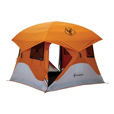 "Gazelle T4 94"" x 94"" 4-Person Pop Up Camping Hub Tent with Removable Floor, Rain Fly, Ground Stakes, and Tie-Down Ropes for Camping or Picnicking"