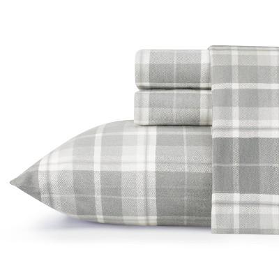 Laura Ashley Mulholland Plaid Flannel Sheet Set Queen - Gray