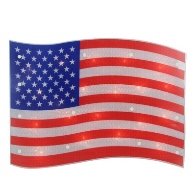 """Northlight 17"""" Lighted Holographic Red, White and Blue American Flag Window Silhouette Decoration"""