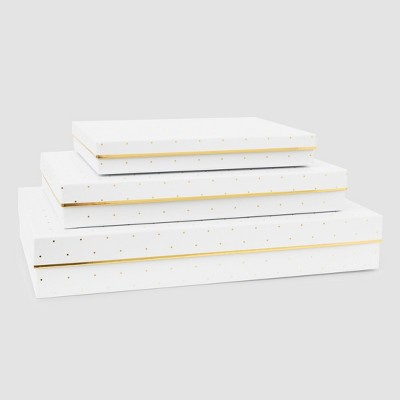 White and Gold Dot Shirt Boxes 3ct - Sugar Paper™