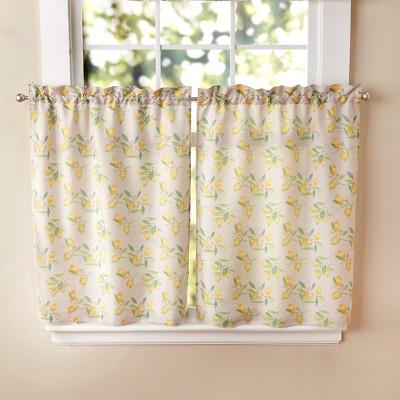Lakeside Lakeside Lemon Twist Half Window Curtain Tier Set - 2 Pieces