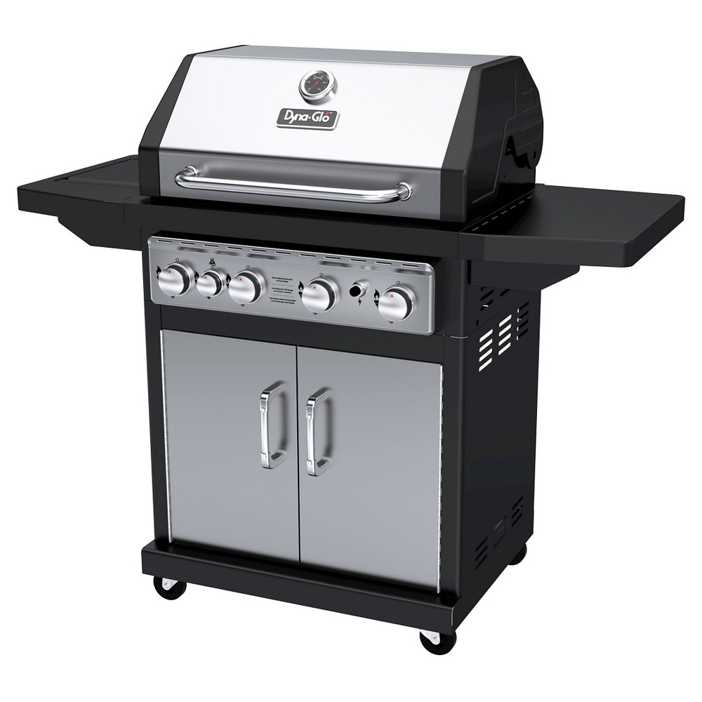 Dyna-Glo 4 Burner Propane Gas Grill with Side Burner, Silver 50024092