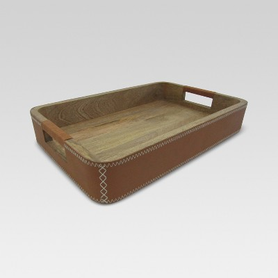 Leather Wrapped Wood Tray - Brown - Threshold™